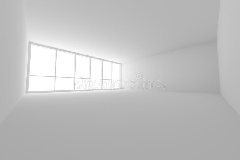 Videz la pièce blanche de local commercial avec la grande fenêtre grande-angulaire illustration stock
