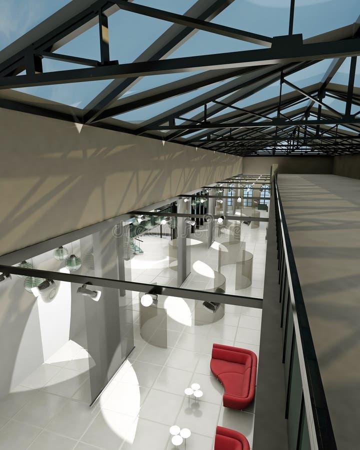 Videz la pièce large avec les murs géométriques, sho intérieur illustration libre de droits