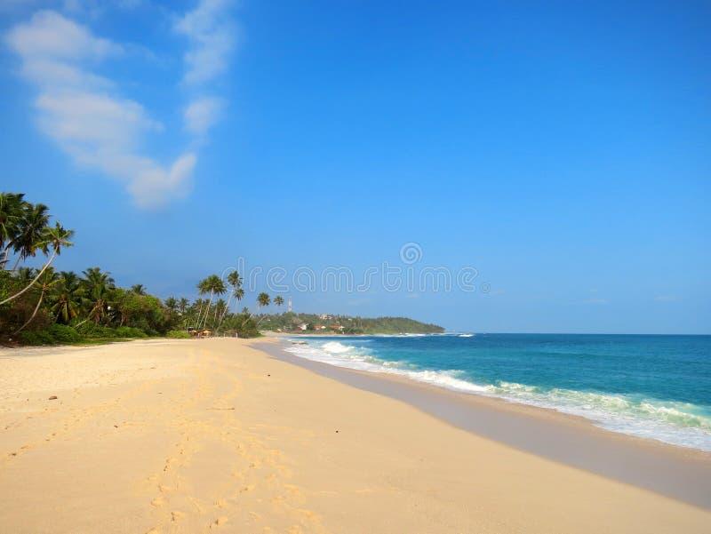 Videz la plage propre avec des paumes, Kamburugamuwa, Mirissa, Sri Lanka photos stock