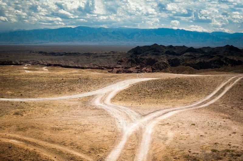 Videz la route rurale passant par la prairie sous le ciel nuageux images libres de droits