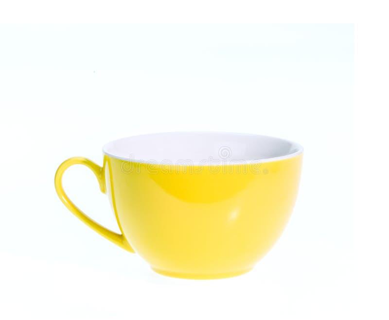 Videz la tasse de café en céramique d'isolement sur le fond blanc images libres de droits