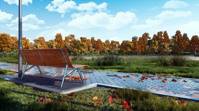 Videz le banc en parc de ville au jour calme d'automne photos libres de droits