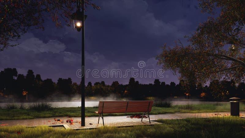 Videz le banc en parc de ville la nuit foncé automne photos stock