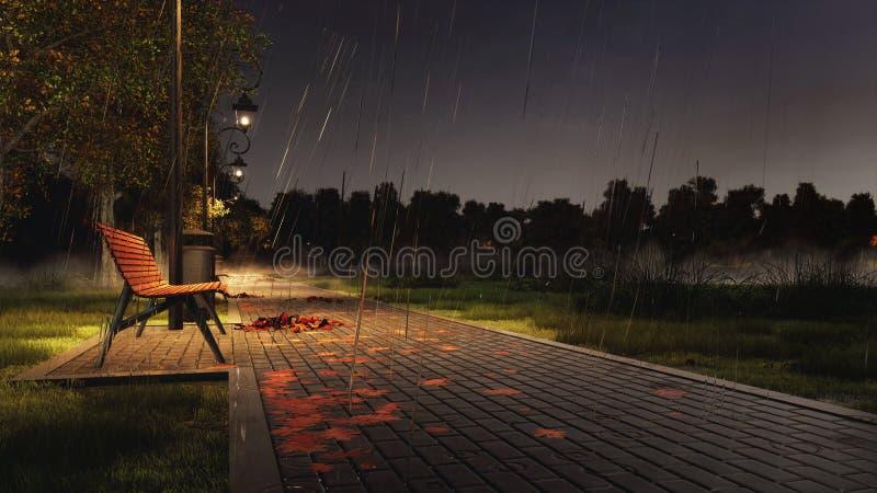 Videz le banc sur le passage couvert de parc la nuit pluvieux automne image stock