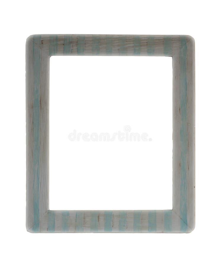Videz le cadre de tableau en bois, vintage, barré dans blanc et bleu photo stock
