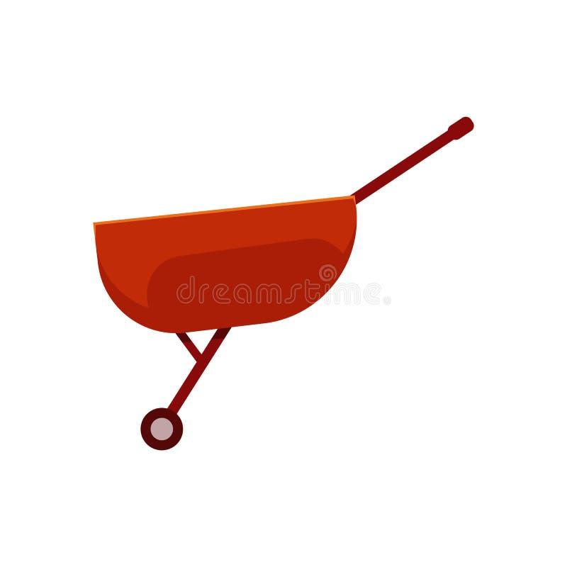 Videz le chariot rouge de brouette - symbole d'équipement de jardinage de ferme pour le chariot des cargaisons illustration stock