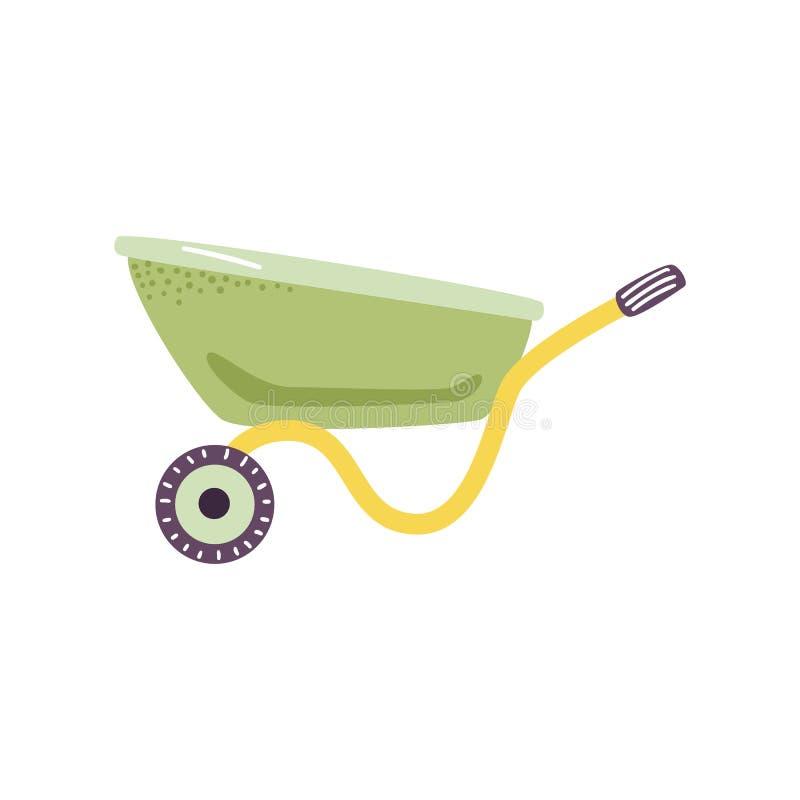 Videz le chariot vert de brouette dans le style plat - symbole mignon d'outil de jardinage de ferme pour le chariot des cargaison illustration stock