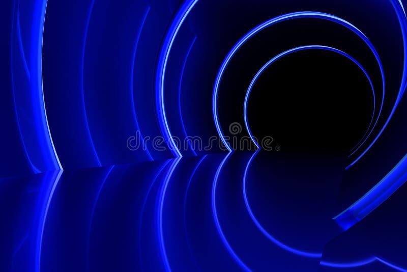 Videz le couloir brillant brillant léger bleu lumineux, le rendu 3d illustration libre de droits