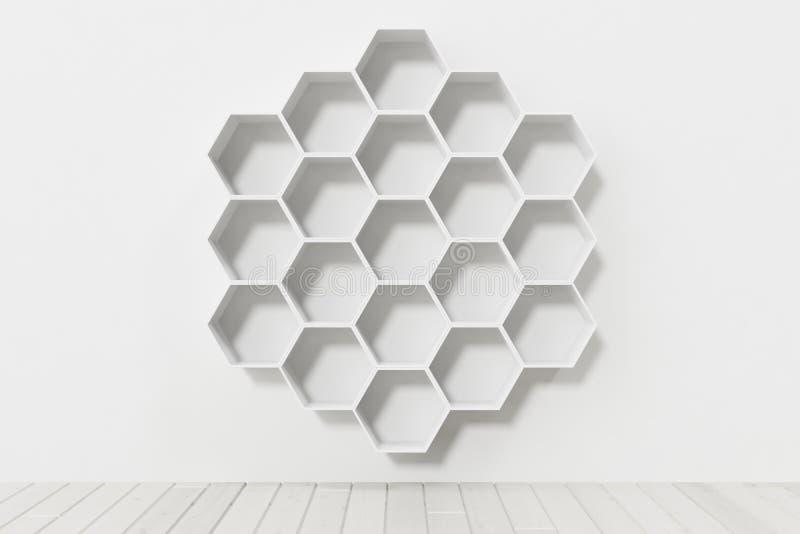 Videz le mur blanc avec des étagères d'hexagone sur le mur, le rendu 3D image stock