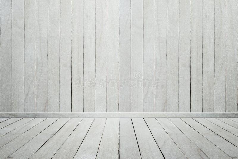 Videz le mur en bois blanc et le plancher de pièce en bois intérieure photographie stock
