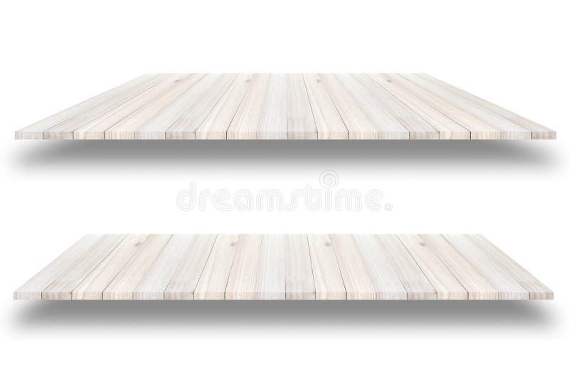 Videz le mur en bois d'étagère d'isolement sur le fond blanc, pour prese illustration libre de droits