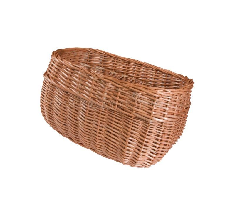 Videz le panier en bois de fruit ou de pain sur le blanc photos stock