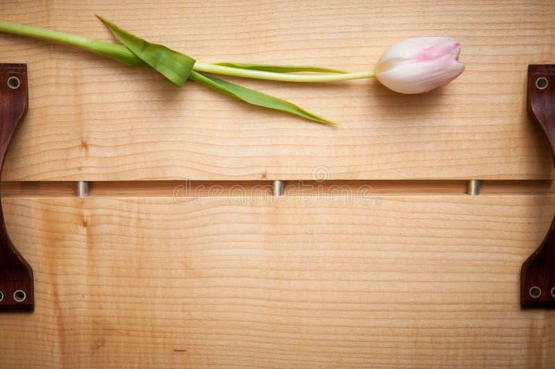 Videz le plateau en bois avec une fleur et l'espace pour le texte image libre de droits