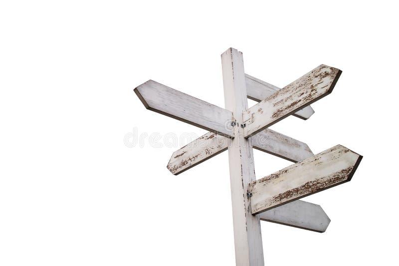 Videz le poteau indicateur en bois avec des flèches - avec le chemin de coupure photographie stock