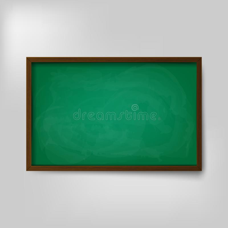 Videz le tableau vide de vert d'école d'isolement sur le fond blanc Illustration de vecteur illustration stock