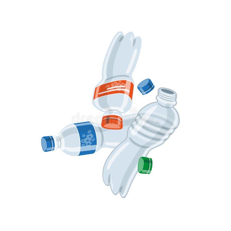 Videz les déchets utilisés de déchets de bouteilles de plastique illustration libre de droits