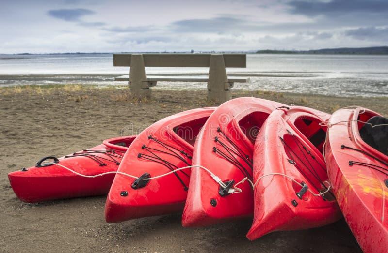 Videz les kayaks récréationnels en plastique rouges pour le loyer ou la location, stockés sur la plage sablonneuse après des heur photo stock
