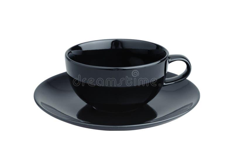 Videz les tasses de café noir d'isolement sur le fond blanc images libres de droits