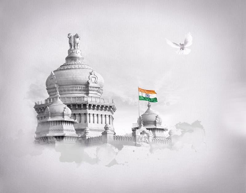 Vidhana soudha,班加罗尔,卡纳塔克邦 免版税库存图片