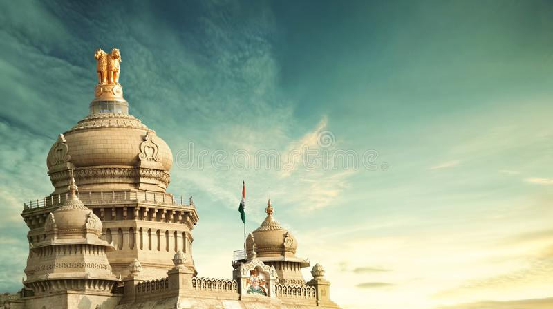 Vidhana soudha, bangalore, karnataka . The Vidhana Soudha located in Bengaluru, is the seat of the state legislature of Karnataka. It is constructed in a style royalty free stock images