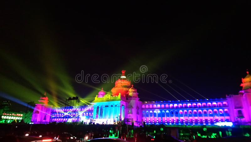 Vidhana soudha in lights, Bengaluru. Diamond jubilee celebration of Vidhana Soudha in Bengaluru, Karnataka. India royalty free stock image