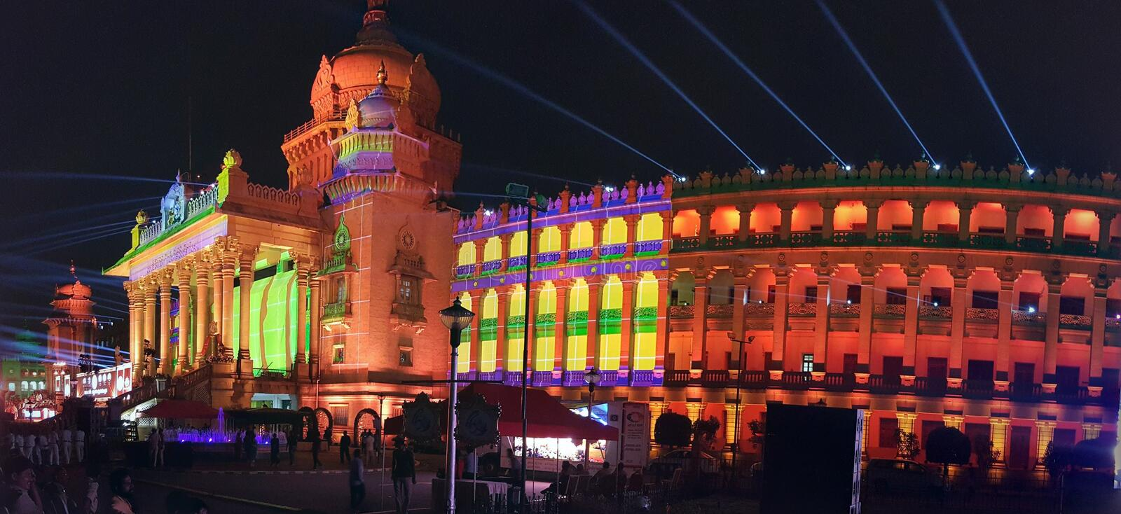 Vidhana soudha with search lights for new leadership everywhere. Vidhana soudha with search lights everywhere, golden, karnataka, landmark, bengaluru, politics stock photo