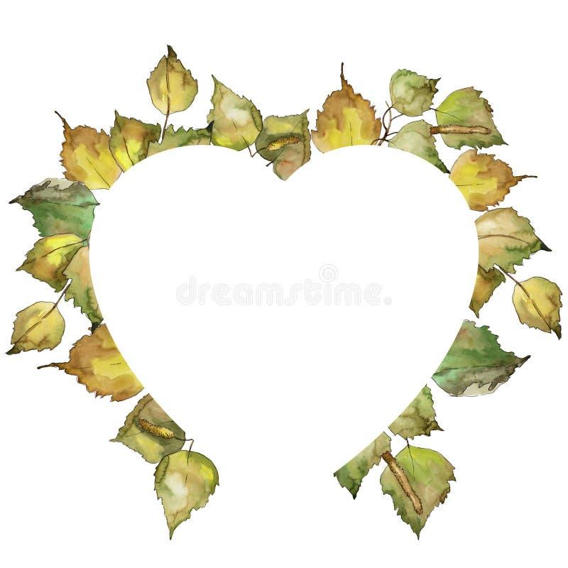Vidoeiro das folhas Folha floral do jardim botânico da planta da folha Quadrado do ornamento da beira do quadro ilustração do vetor
