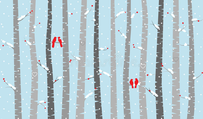 Vidoeiro ou Aspen Trees do vetor com neve e pássaros do amor ilustração do vetor