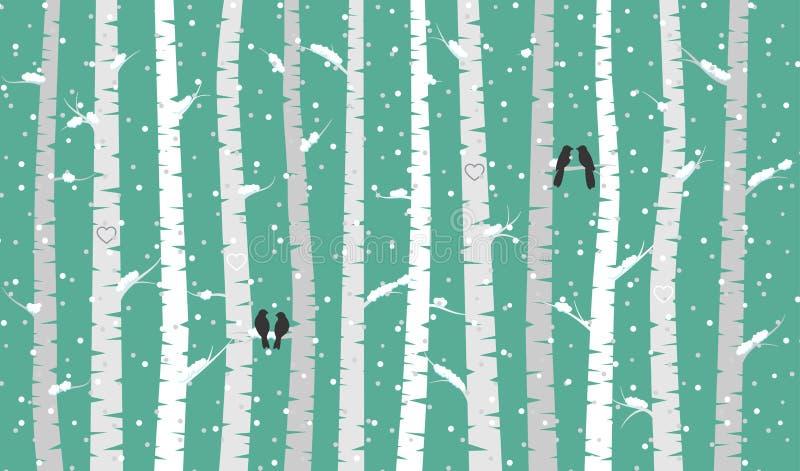 Vidoeiro ou Aspen Trees do vetor com neve e pássaros do amor ilustração royalty free