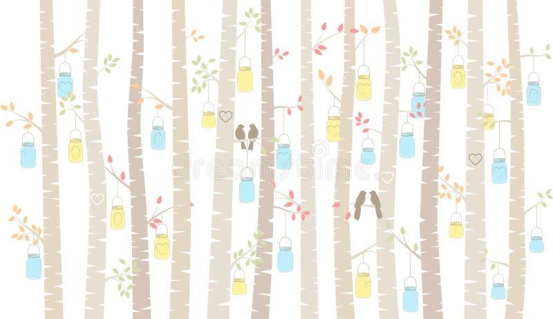 Vidoeiro ou Aspen Trees do vetor com suspensão de pássaros de Mason Jars e do amor ilustração royalty free