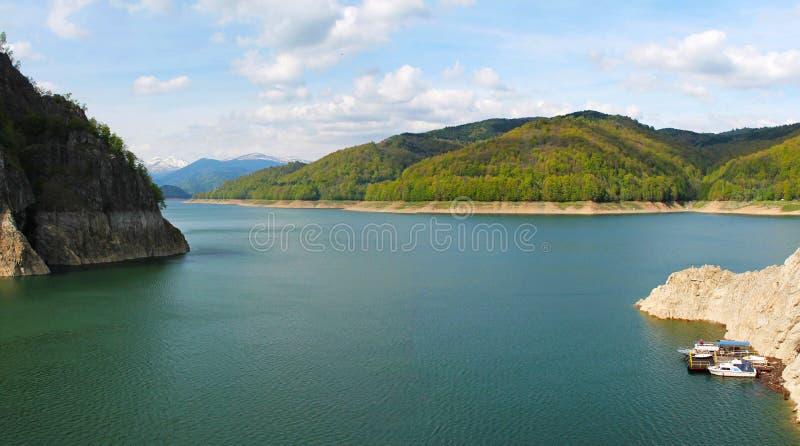Vidraru Dam lake panorama in Arges Romania royalty free stock photography