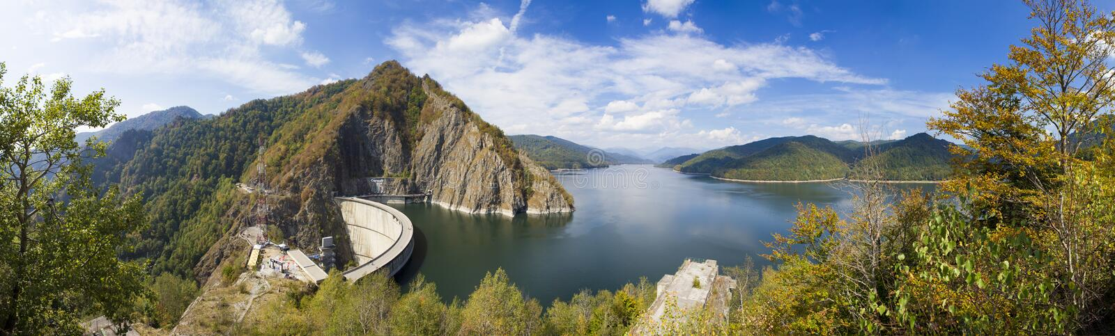 Vidraru dam and the river view from Statue of Prometheus stock photos