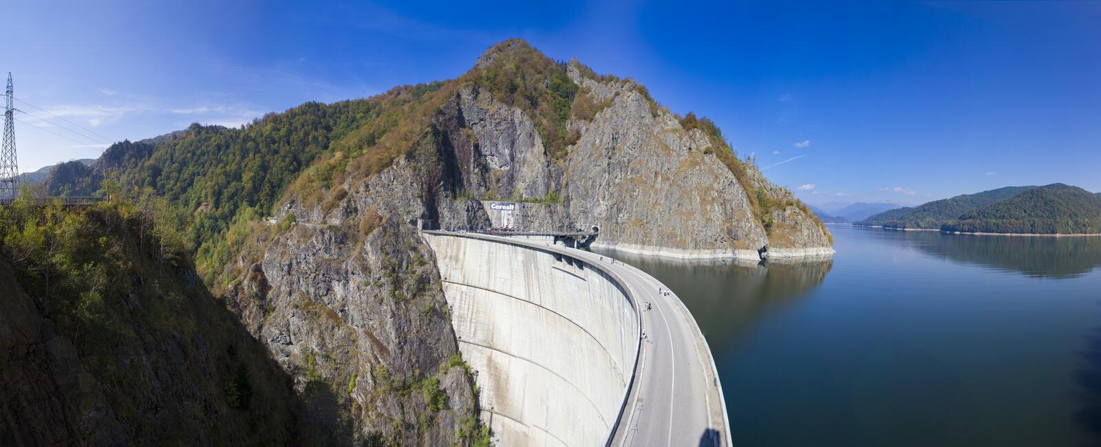 Vidraru dam and the river view from Statue of Prometheus royalty free stock photo
