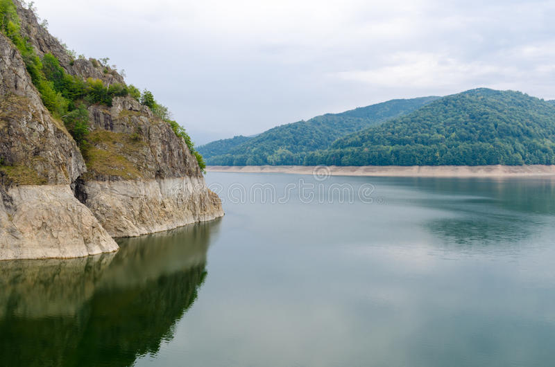 Vidraru Lake on Arges River, Romania. Hydro electric power station. royalty free stock images
