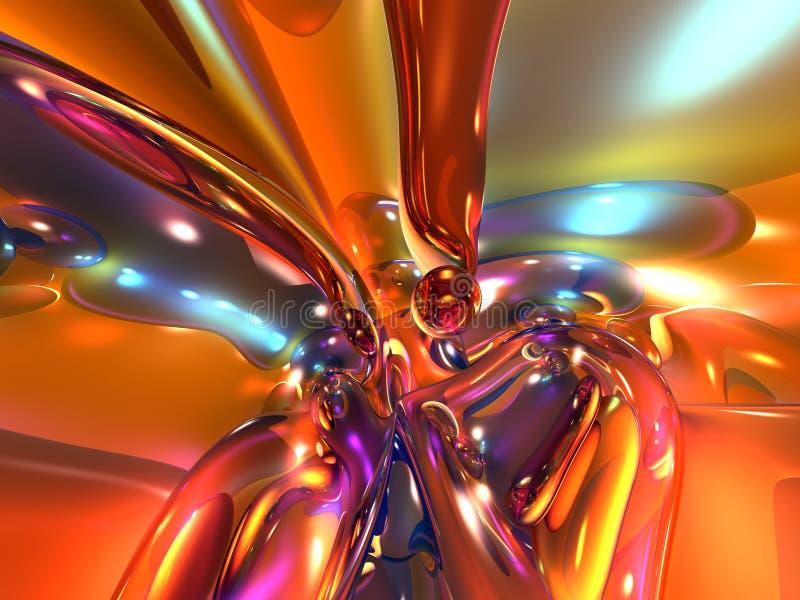 vidrio abstracto brillante colorido anaranjado rojo 3D stock de ilustración