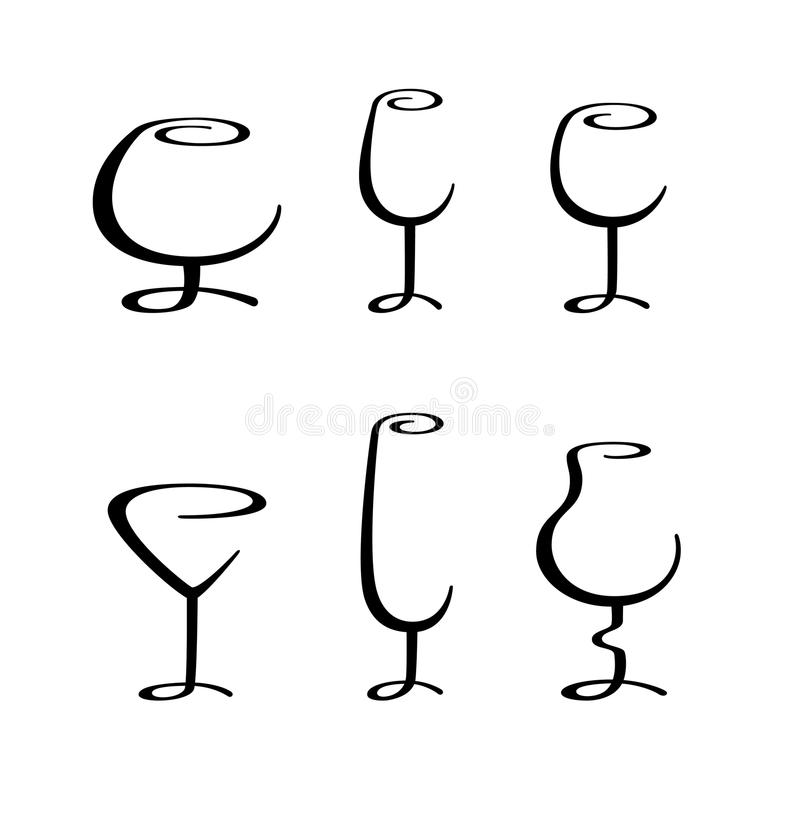 Vidrio alcohólico caligráfico stock de ilustración