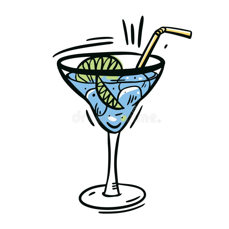 Vidrio azul del daiquirí Dé el ejemplo exhausto del vector aislado en el fondo blanco ilustración del vector