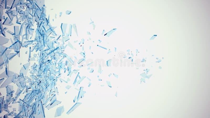 Vidrio azul roto abstracto en los pedazos aislados en el fondo blanco ilustración 3D ilustración del vector