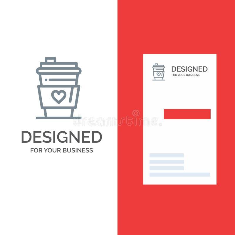Vidrio, bebida, amor, boda Grey Logo Design y plantilla de la tarjeta de visita stock de ilustración