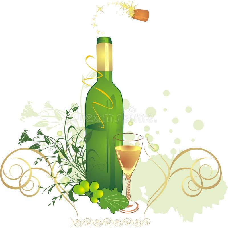 Vidrio, botella y vid. Composición del día de fiesta ilustración del vector