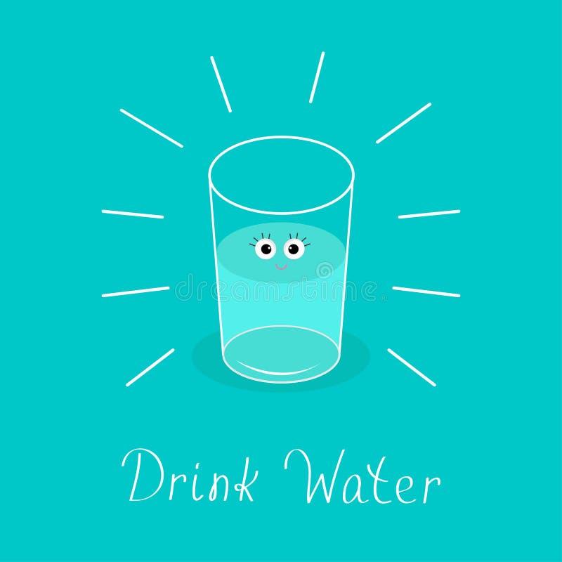 Vidrio brillante grande con los ojos Bebé Infographic del agua de la bebida Diseño plano libre illustration