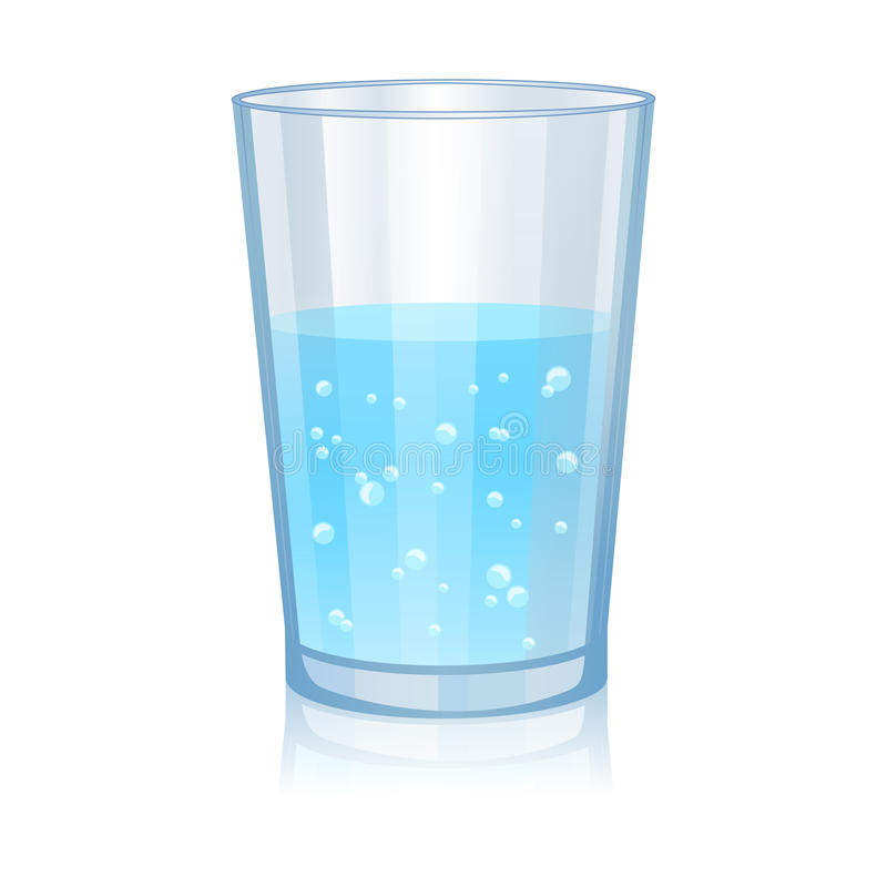 Vidrio con el ejemplo aislado agua del vector libre illustration