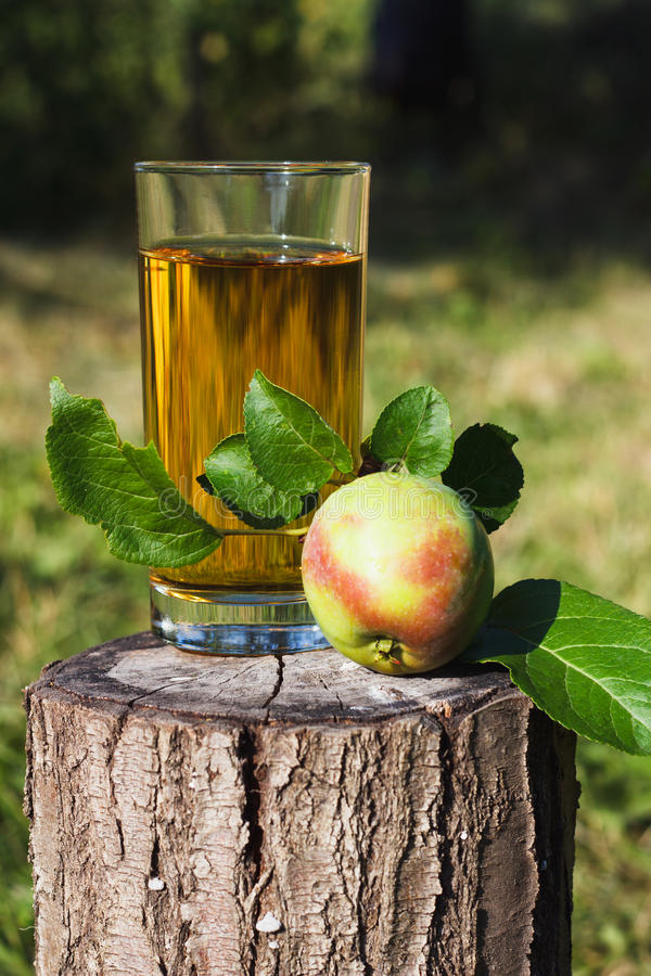 Vidrio con el zumo y la fruta de manzana cerca de ella foto de archivo