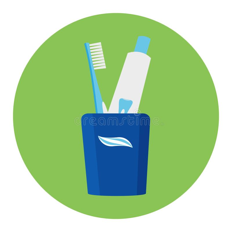 Vidrio con los cepillos de dientes y la crema dental Ilustración del vector Cuidado dental imágenes de archivo libres de regalías