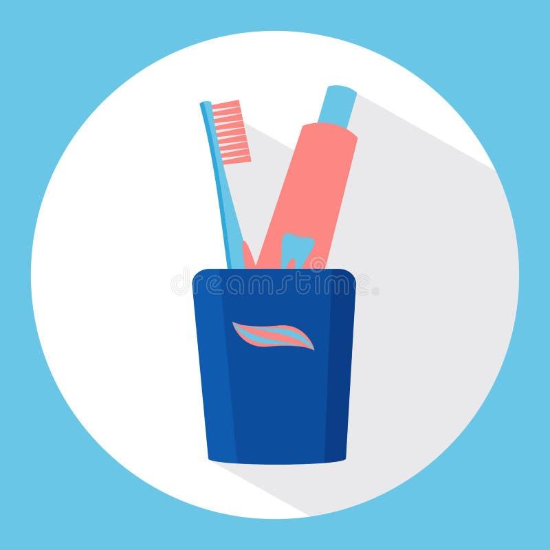 Vidrio con los cepillos de dientes y la crema dental Ilustración del vector Cuidado dental imagenes de archivo