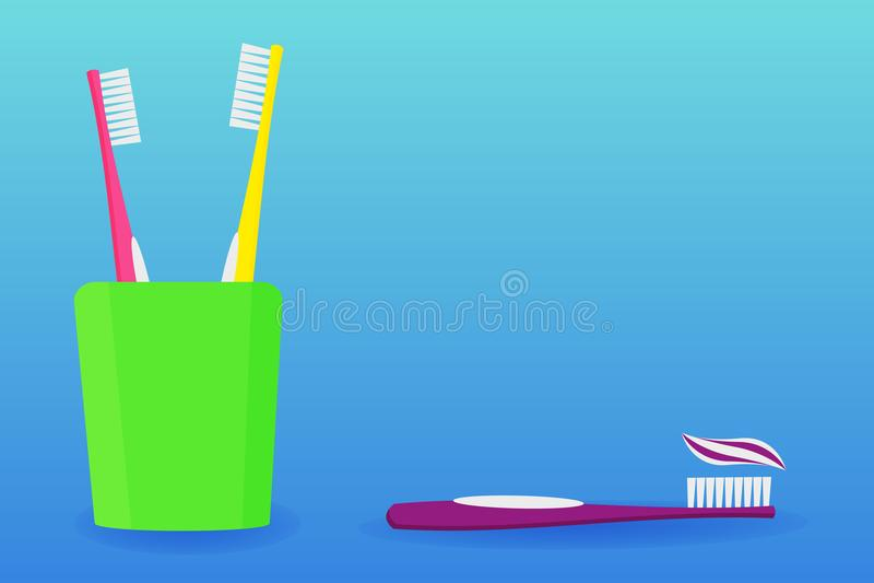 Vidrio con los cepillos de dientes y la crema dental Ilustración del vector Cuidado dental foto de archivo