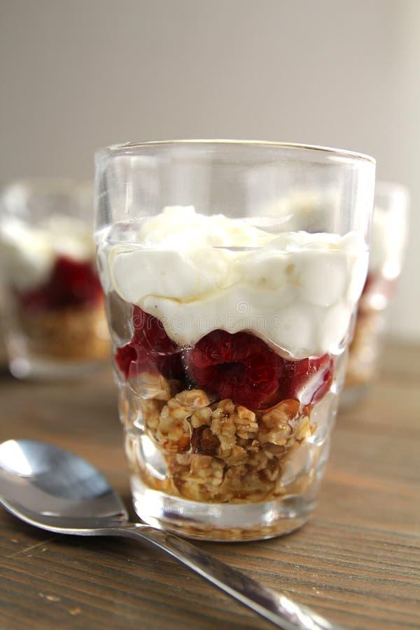 Vidrio con yogur, coulis de bayas y nueces fotos de archivo libres de regalías