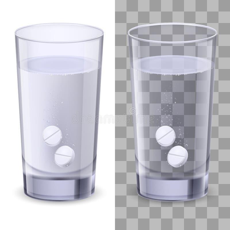 Vidrio de agua y de píldoras ilustración del vector