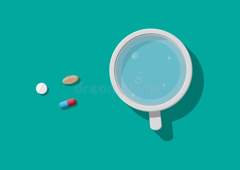 Vidrio de agua y de píldoras Tomar la medicación libre illustration