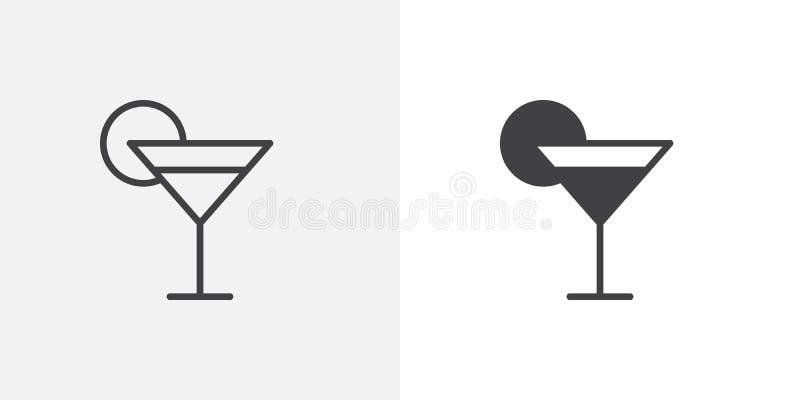 Vidrio de cóctel con el icono de la cal ilustración del vector